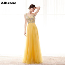 Charming Sparkly Yellow Sexy Beach Evening Dress 2017 Luxury Beauty Evening Dresses Long Prom Gown robe de soiree Red Carpet