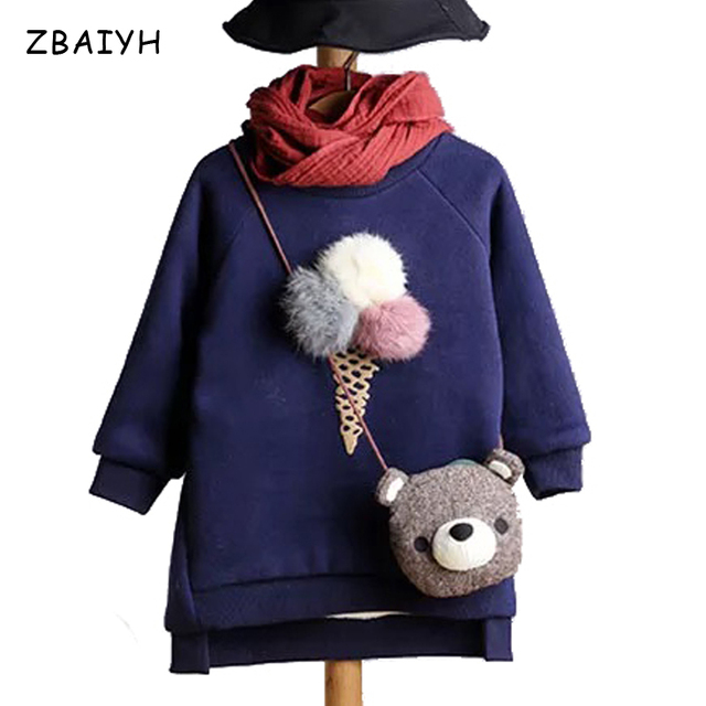 Autumn Sweatshirt Baby Hoodies Tops Children's Winter Girls Pullovers Sweater Kids Coat Cotton Warm Fashion Hairball Clothes