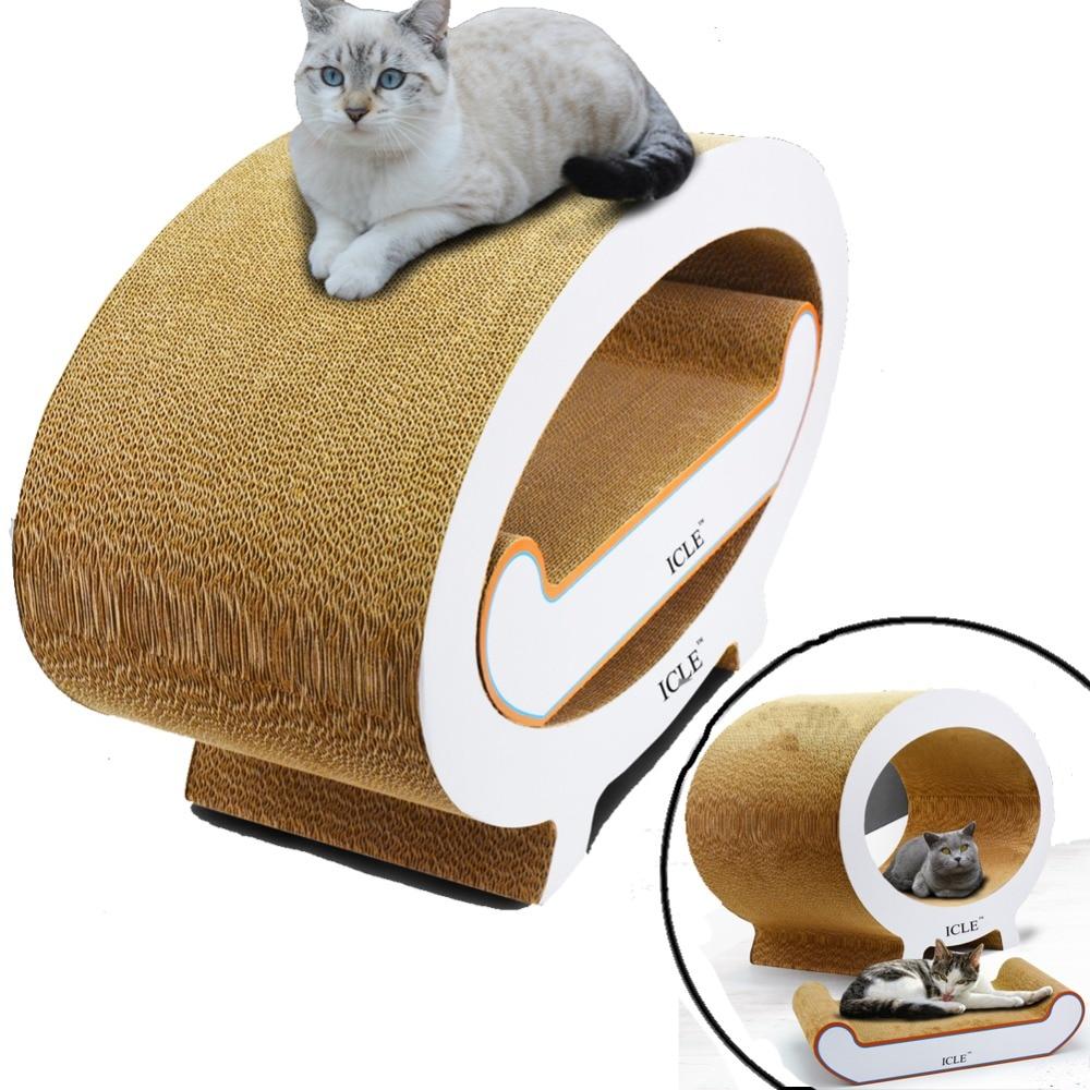 Animal de compagnie chat griffoir avec grand panneau de jeu oreiller carton ondulé Scratcher meubles en carton chats jouets maison Condos tapis
