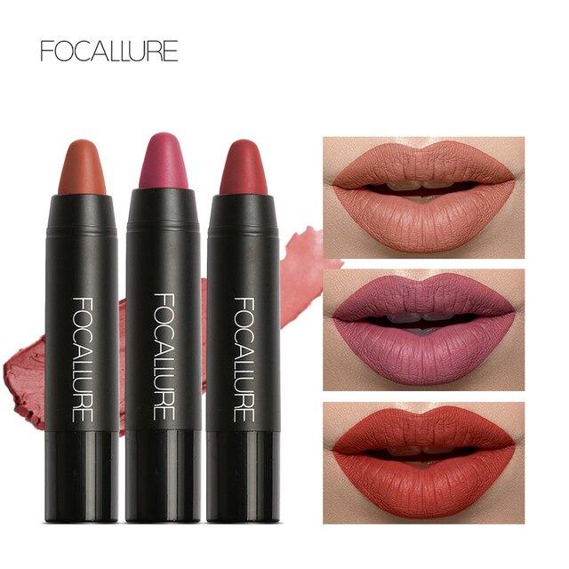 FOCALLURE mate lápiz labial maquillaje Chic belleza Sexy impermeable lápiz labial impermeable fácil de usar maquillaje brillo de labios cosmética
