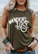 New Women Tank Tops 2018 Summer Sleeveless tops tee Wanderlust Letter Print O-Neck Tank Female Army Green Tank Ladies Tops Tee
