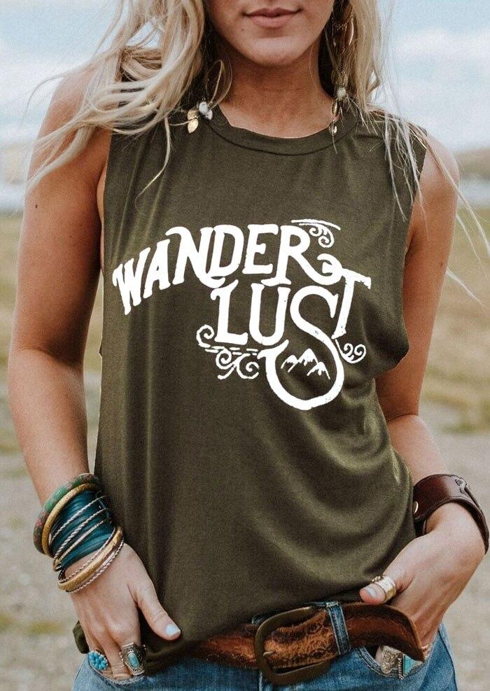 Nueva camiseta sin mangas de verano 2018 para mujer, camiseta sin mangas, Camiseta con estampado de letras wandlust, Camiseta con cuello redondo, camiseta verde militar para mujer