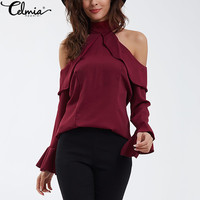 2017 Spring Summer Sexy Halter Turtle Neck Women Chiffon Blouse Plus Size Casual Long Sleeve Ruffles