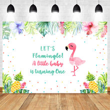 Mehofoto Flamingo One Birthday Photography Backdrop Baby Party Banner Background Pineapple Flower Leaves Summer Backdrops(China)