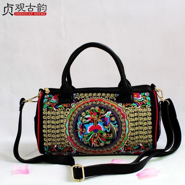 Handmade Ethnic Embroidery Women Tote Handbag Vintage Yunnan Canvas Stereoscopic Lady Crossbody National Femme Shoulder Hand Bag