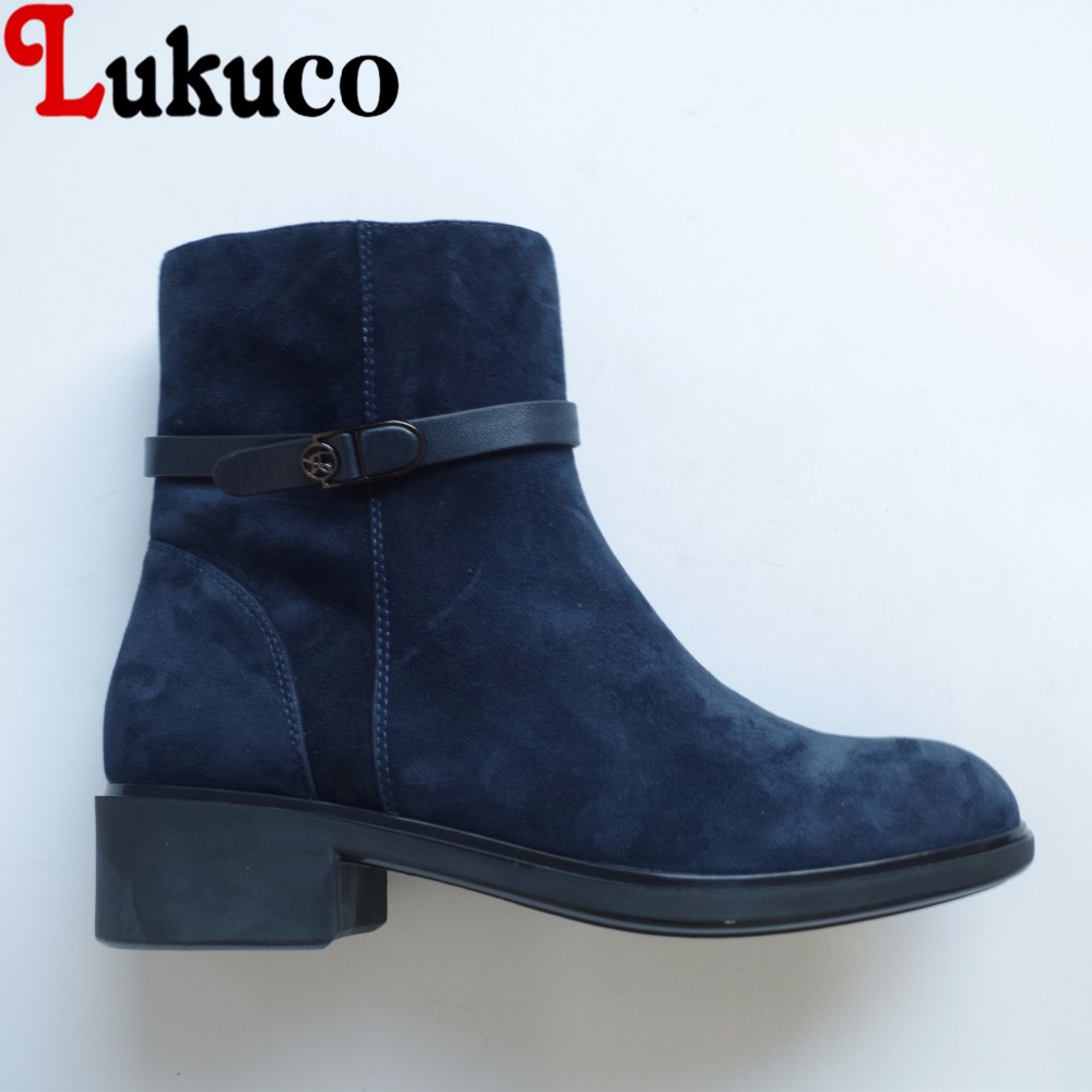 Lukuco pure color women ankle boots microfiber made buckle design low hoof heel zip shoes with short plush inside lukuco pure color women mid calf boots microfiber made buckle design low hoof heel zip shoes with short plush inside