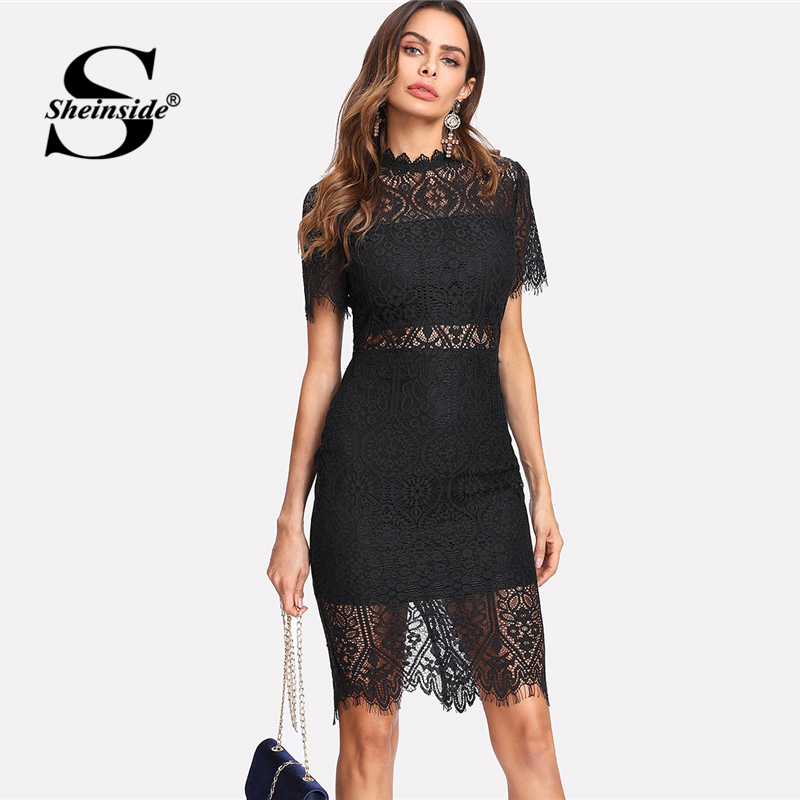 Sheinside 2018 Party Dress Black Stand Collar Short Sleeve Plain Eyelash Lace Dress Women Elegant Scallop Trim Midi Dress