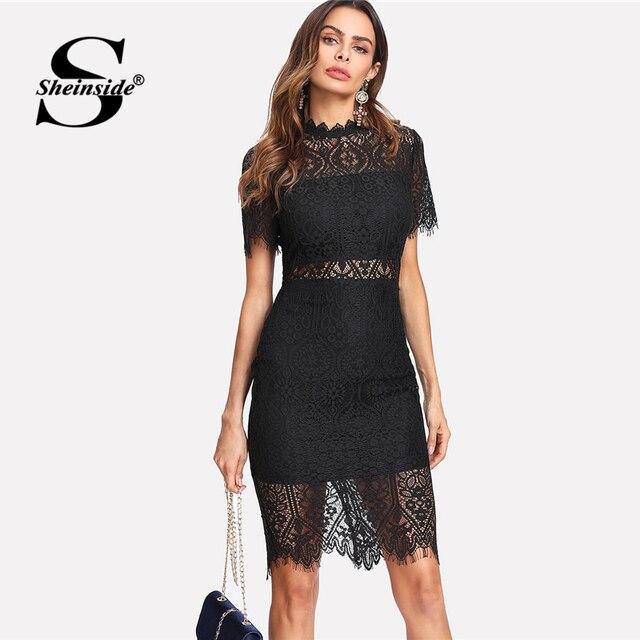 b6c9c574b7 Sheinside Bodycon Party Dress Black Stand Collar Short Sleeve Eyelash Lace  Dress Women Elegant Scallop Trim Midi Sexy Dress