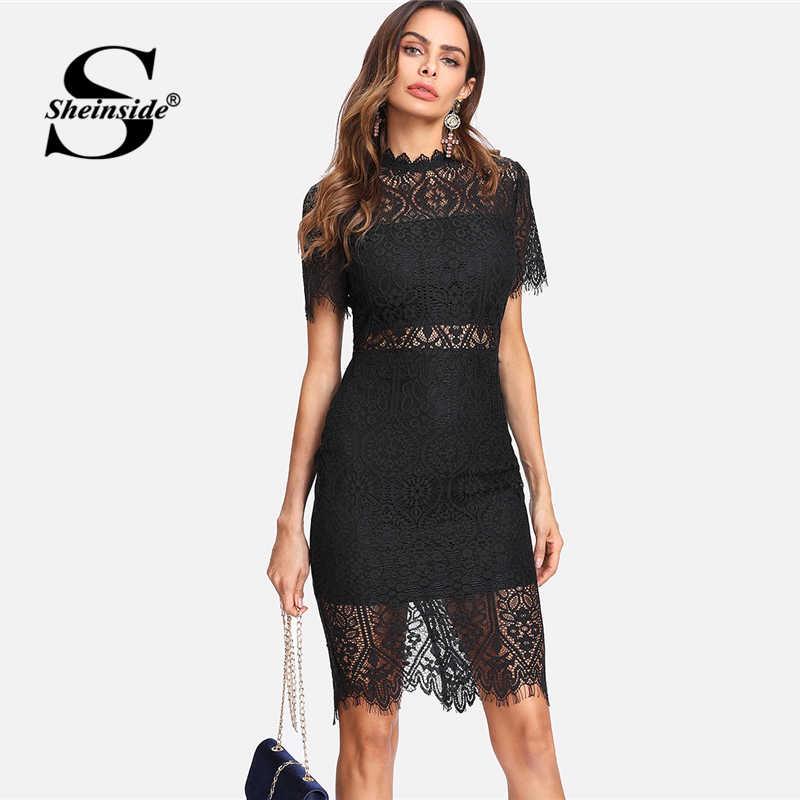 3d8b2887ae78 Sheinside Bodycon Party Dress Black Stand Collar Short Sleeve Eyelash Lace Dress  Women Elegant Scallop Trim