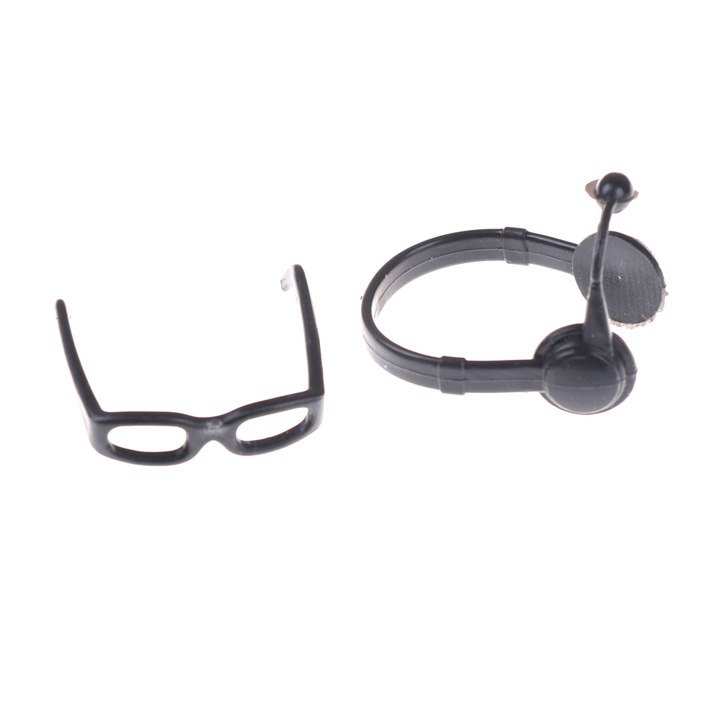 1:12 Black Simulation Glasses Earphone Toys for Children Doll Accessories jf