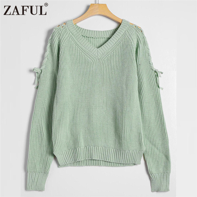 ZAFUL 2018 Autumn Winter Warm Women Sweater Jumpers Pullovers Long Sleeve  Lace Up V Neck Side 42ee9b055