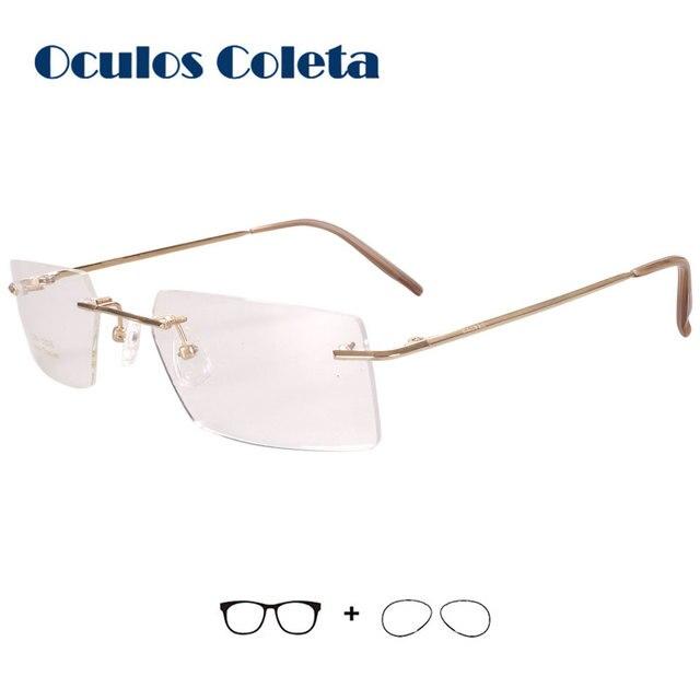 Prescription glasses for men rimless For myopia astigmatism Hyperopia