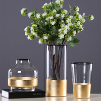 European Glass Flower Vase with Gold Foil Figurines Living Room Decor Gold Tabletop Vase Crafts Household Ornament Wedding Gifts