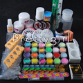 Hotsale Pro Pink White Clear Acrylic Nail Powder Liquid DIY Glue File Topcoat Nail Art Tips Tools Manicure Pedicure Set Kit #041