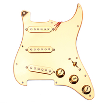 Gold Prewired 1-ply 11 Holes SSS Mirror Pickguard 3-single Coil Pickups with Magnets for Stratocaster Guitar gold prewired 1 ply 11 holes sss mirror pickguard 3 single coil pickups with magnets for stratocaster guitar