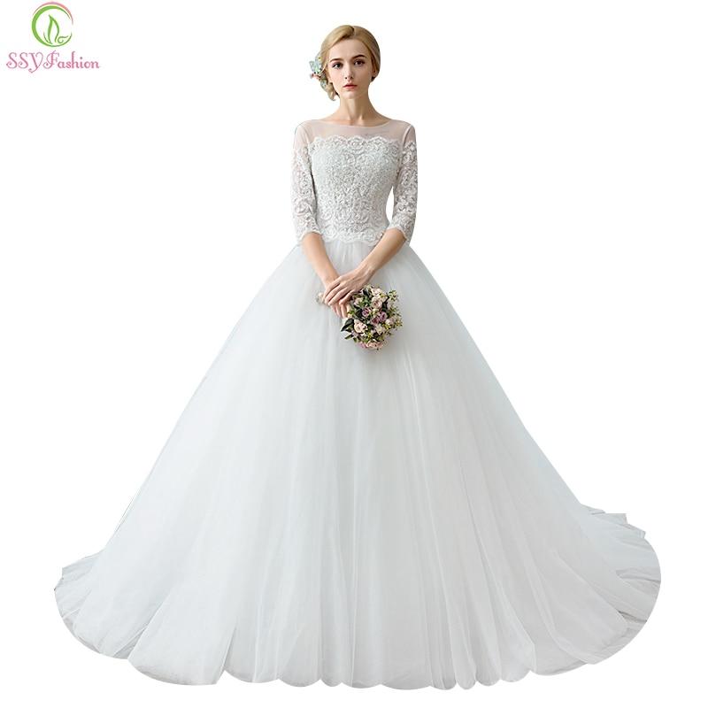 Elegant Simple Long Sleeve Wedding Dress: SSYFashion Long Sleeve Wedding Dresses The Bride Elegant