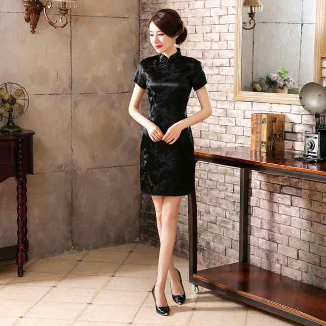 Летнее сексуальное черное китайское женское мини-платье традиционное шелковое атласное Ципао Cheongsam цветочный размер S, M, L, XL, XX 4XL 5XL 6XL NC027