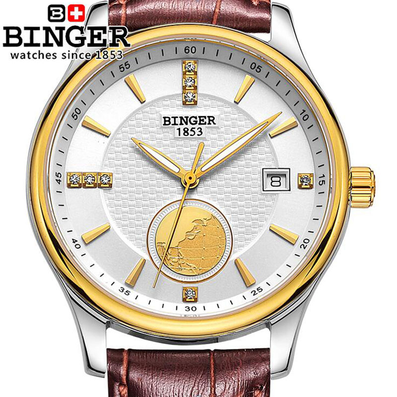 BINGER Gold Earth Design Automatic Mechanical Men Steel Watch Fashion Luxury Brand Leather Business Watches Relogio MasculinoBINGER Gold Earth Design Automatic Mechanical Men Steel Watch Fashion Luxury Brand Leather Business Watches Relogio Masculino