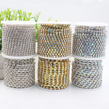 10Yard Transparent Rhinestone Chain Glass Crystal Silver/Gold Base Sew on Cup Chains Trim DIY For Garment Accessories