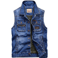 New Sleeveless Jeans Jacket Men Cowboy Vest Multi Pocket Casual Waistcoat Mens Denim Motorcycle Cargo Vest