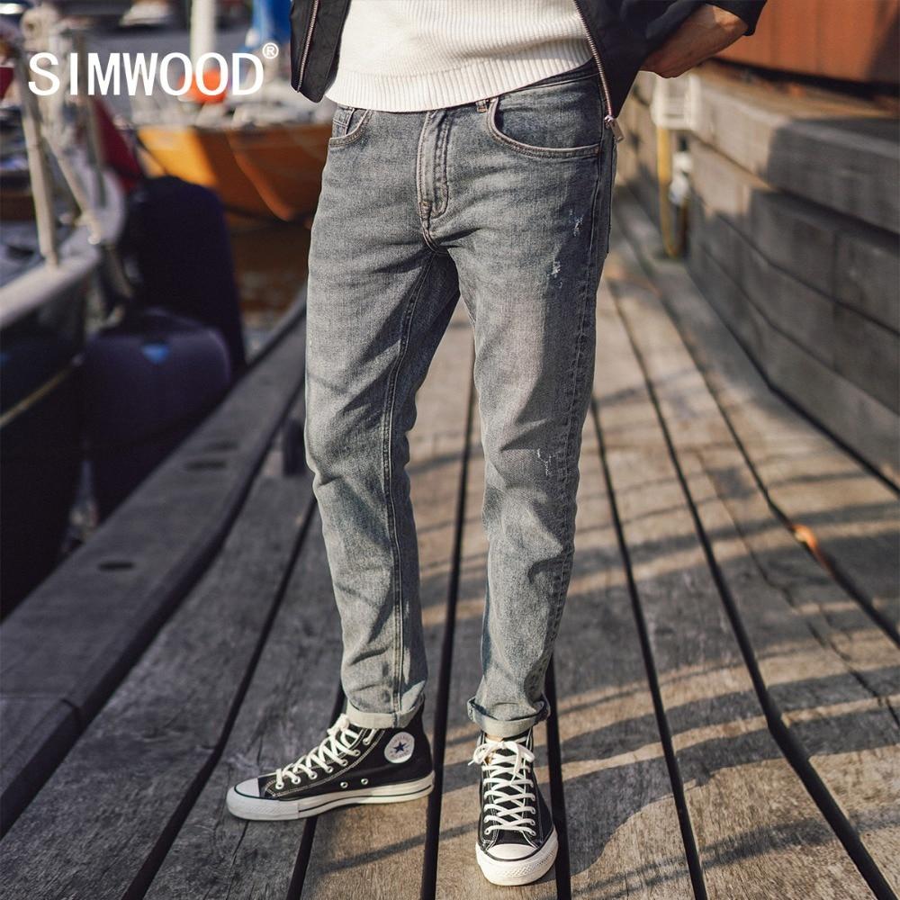 SIMWOOD Лидер продаж 2018 джинсы Для мужчин новая мода Повседневное глория джинс тонкий прямой мужской плюс Размеры джинсовые брюки высокое каче...