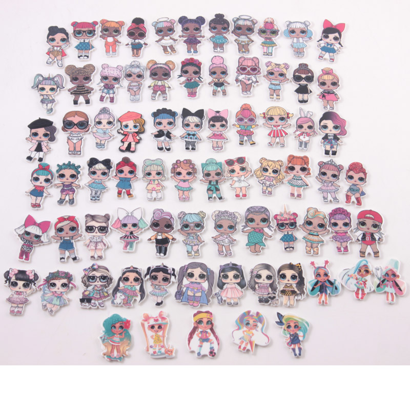 US $4 99  Free Shipping 30pcs LOL Surprise Girls Planar Resin Beautiful  Girls Character Planar Resin Accessories Kids DIY Hair Decoration-in Charms