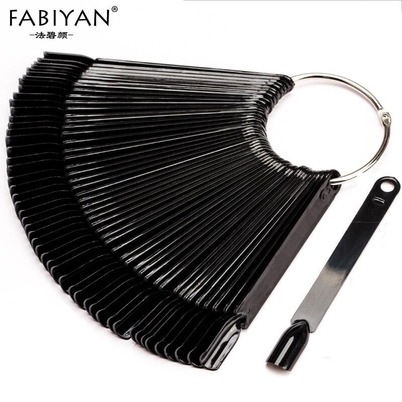 50Pcs Nail Art Display Tips Black Fan Shaped Board False Stick Practice Training Round Hoop Wheel UV