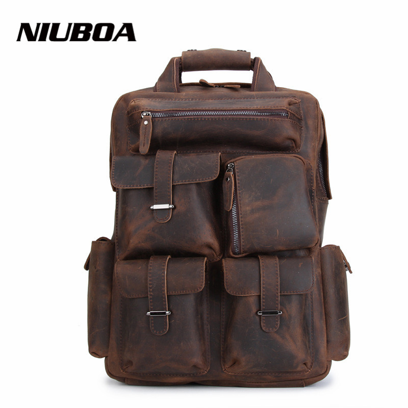 NIUBOA Crazy Horse Cowhide Men Backpack Genuine Leather Vintage Daypack Travel Casual School Book Bags Male Laptop Rucksack Bags hot sale women s backpack the oil wax of cowhide leather backpack women casual gentlewoman small bags genuine leather school bag