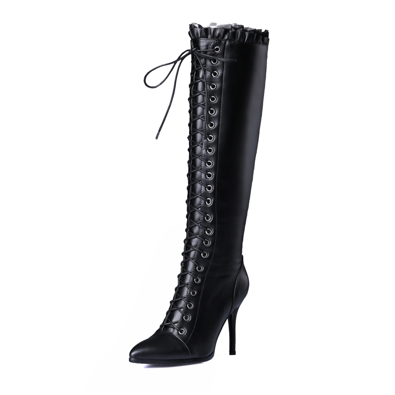 Talons Bout Liée Croix Bottes Haute Nouveau De Pointu Genou Sexy Élégant 2019 Black Femmes Chaussures Mode Stilettos Zipper D'hiver 3FKl1JcT