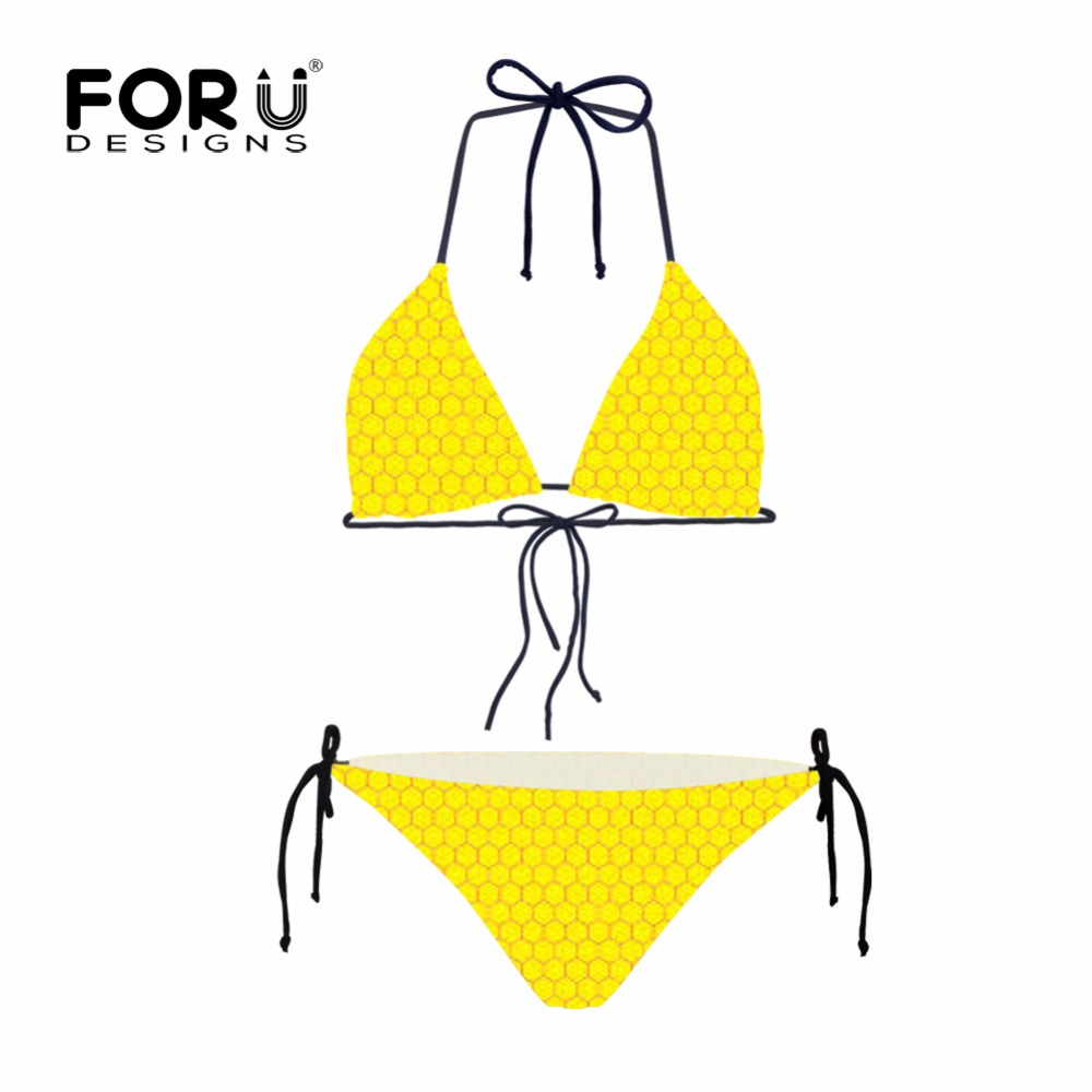 FORUDESIGNS Hot Sexy Yellow Bikini Set Women Triangle Bandeau Spandex  Polyester Solid Brazilian for Girls Summer Maillot De Bain-in Bikinis Set  from Sports ...