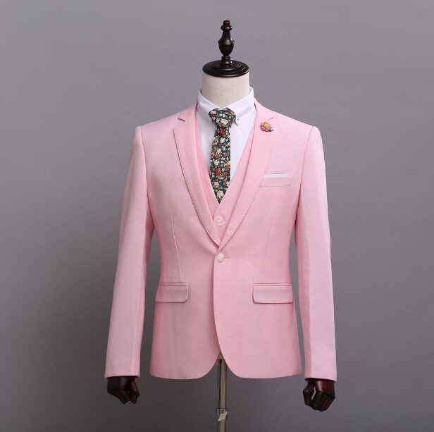 Custom Made Real Image Pink Tuxedos Inspired By Suit Wedding Suit ...