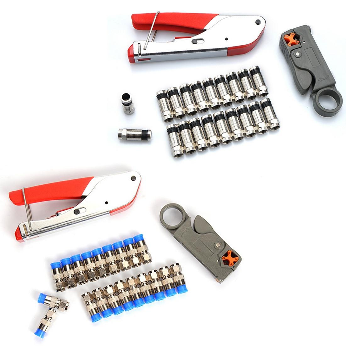 Conjunto Coaxial Cable Wire Stripper RG6 1/RG59 F 20 pcs Conector Ferramenta de Compressão de Friso Alicate de Arame Alicate Descascar kit