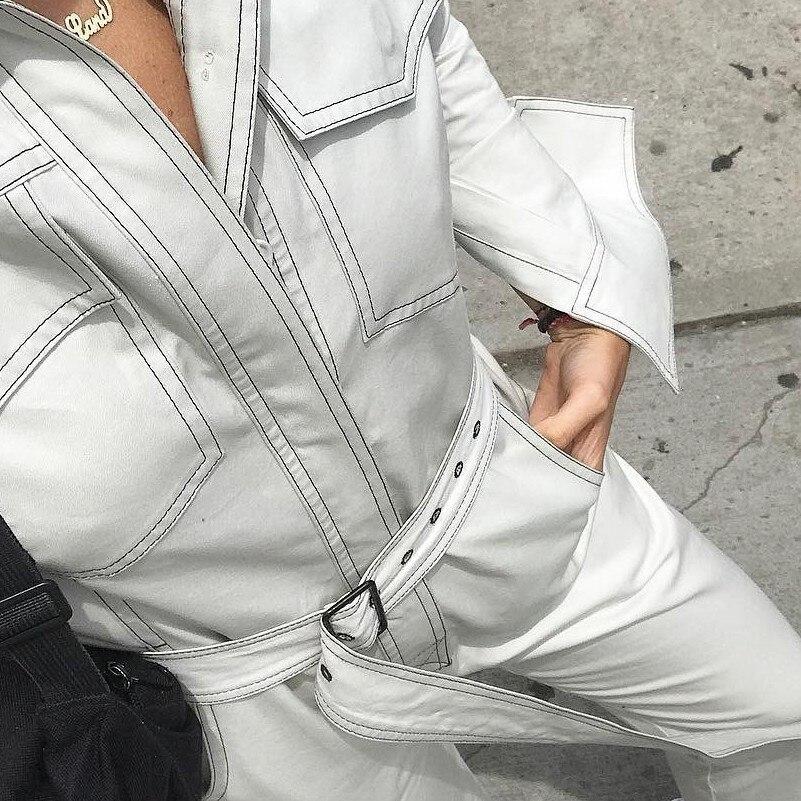 MUXU blanc denim barboteuse femmes combinaison corps mujer une pièce streetwear body sexy combishorts à manches longues combinaison longue femme