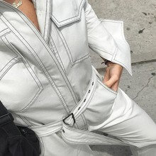 MUXU white denim romper womens jumpsuit body mujer one piece streetwear bodysuit sexy playsuits long sleeve woman