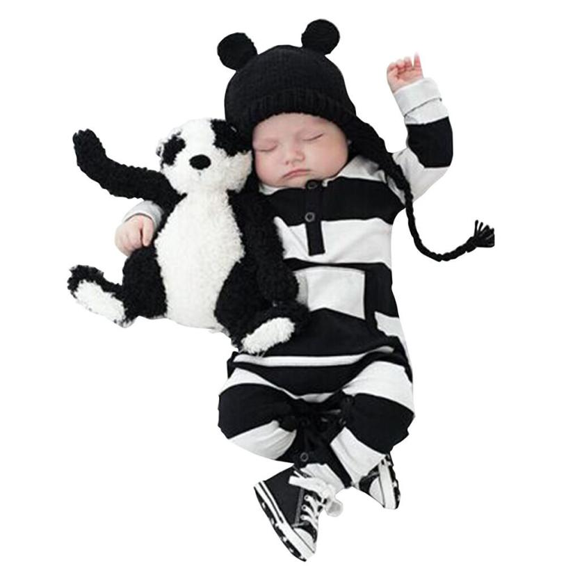 2016 New Fashion Baby Romper Cotton Soft Striped jumpsuit Infant Baby Boy Girl clothing Winter warm Onesie bebek giyim Krystal cute newborn baby boy girl clothes floral infant bebes cotton romper bodysuit bloomers bottom 2pcs outfit bebek giyim clothing