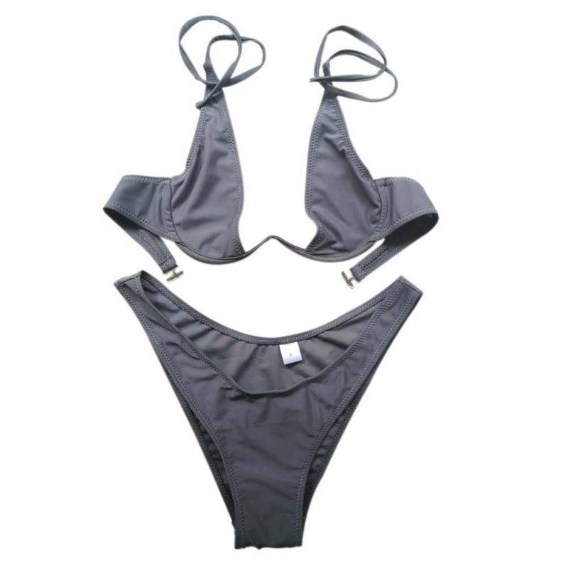 HTB1TfJBa3vD8KJjy0Flq6ygBFXaS - FREE SHIPPING  Swimsuit Solid  Bikini set JKP384
