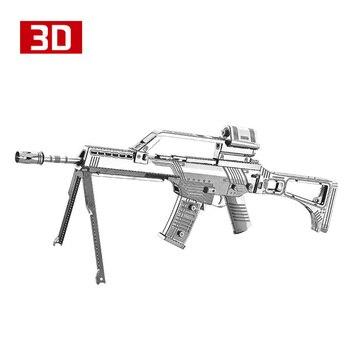 ¡DIY 2018! Figuras de Metal Nano puzle Gewher G36 de HK Nanyua 3D, modelos de Rifle automático, modelo W12201