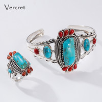Vercret Bohemia Style Natural Stone Turquoise Rings For Women Jewelry Real Pure 925 Sterling Silver Finger