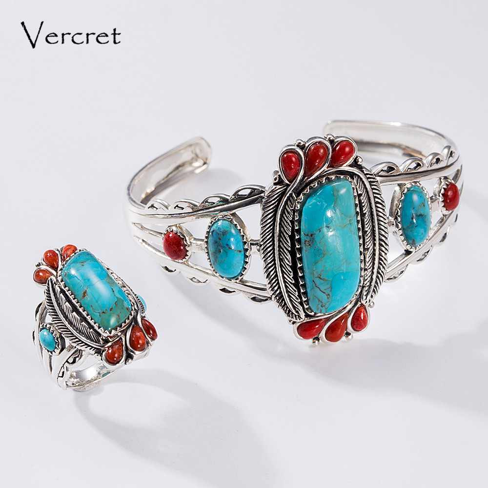 Vercret Bohemia Style Natural Stone Turquoise Rings for Women Jewelry Real Pure 925 Sterling Silver Finger Ring Best Gift punk style pure color hollow out ring for women