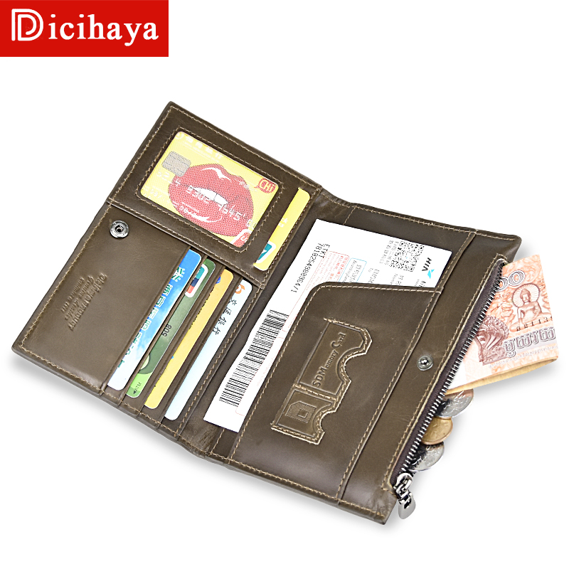 DICIHAYA Vintage Natural Genuine Leather Men Wallet passport holder ID Credit Card Ticket Travel Passport Case