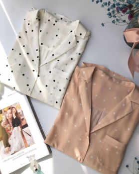 Women Shirt 100% Silk 18mm Spring New 2019 Lady Blouse Jupe Woman Shirts Long Sleeve Vintage Simple Desgin Dot print