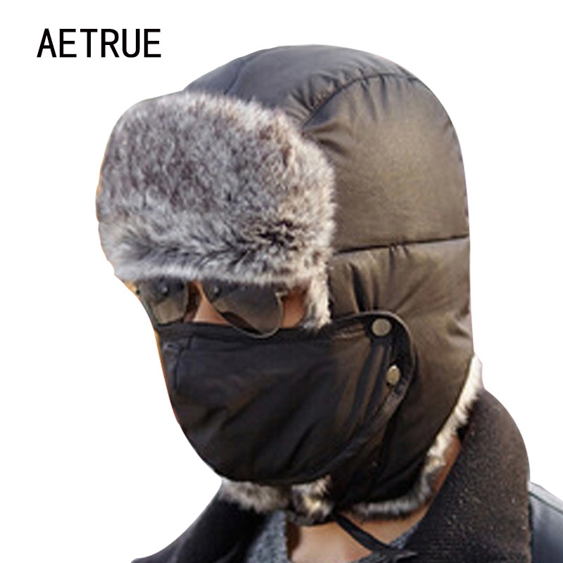 Winter Bomber Hats Men Women Fur Thickened Ear Flaps ...