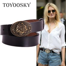 Luxury Genuine Leather Women Belts for Jeans Carved Flower Brass Pin Buckle Wide High Quality Female TOYOOSKY