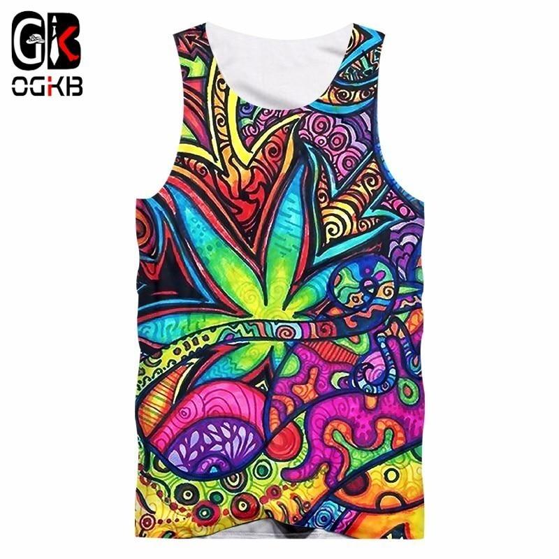 OGKB Vest Mens Hombre Floral 3D Tank Tops Print Oil Painting Leaves Hiphop Plus Size Tees Sleeveless Shirt