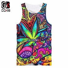 OGKB Vest Men's Hombre Floral 3D Tank Tops Print Oil Painting Leaves Hiphop Plus Size Tops Tees Hombre Sleeveless Shirt(China)