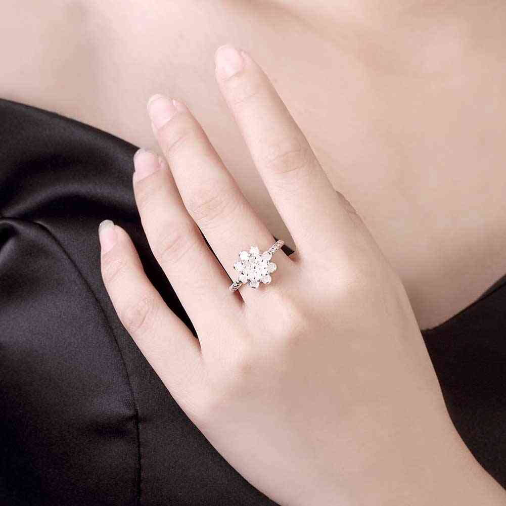 hot sell aliexpress silver resizable ring flowers opening women ring ...