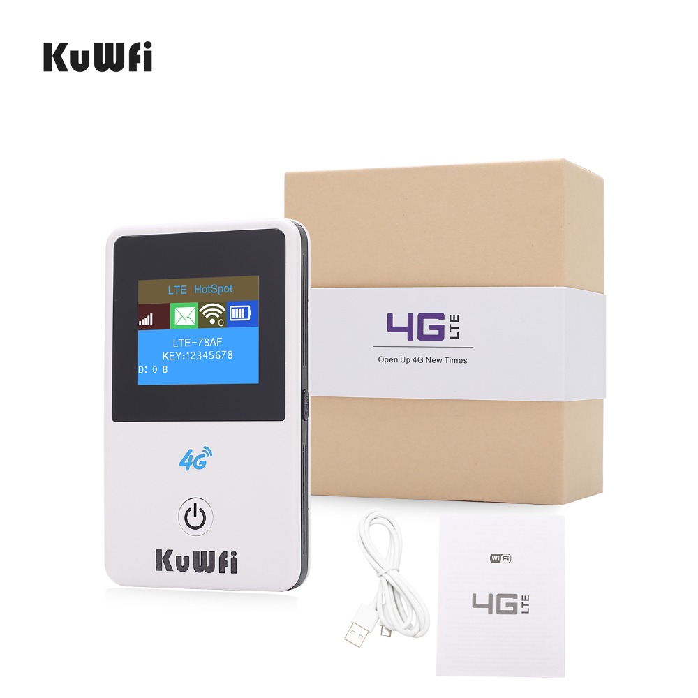KuWFi Unlocked 150Mbps Car Wi-fi Router 4G Mini Wifi Router 3G 4G Lte Wireless Portable Pocket Mobile Hotspot With LCD Display hame a5 3g wi fi ieee802 11b g n 150mbps router hotspot black