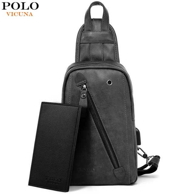 VICUNA POLO Leather USB Charging Set Man Messenger Bag With Wallet Headphone Hole Large Capacity Casual Travel Man Chest Bag