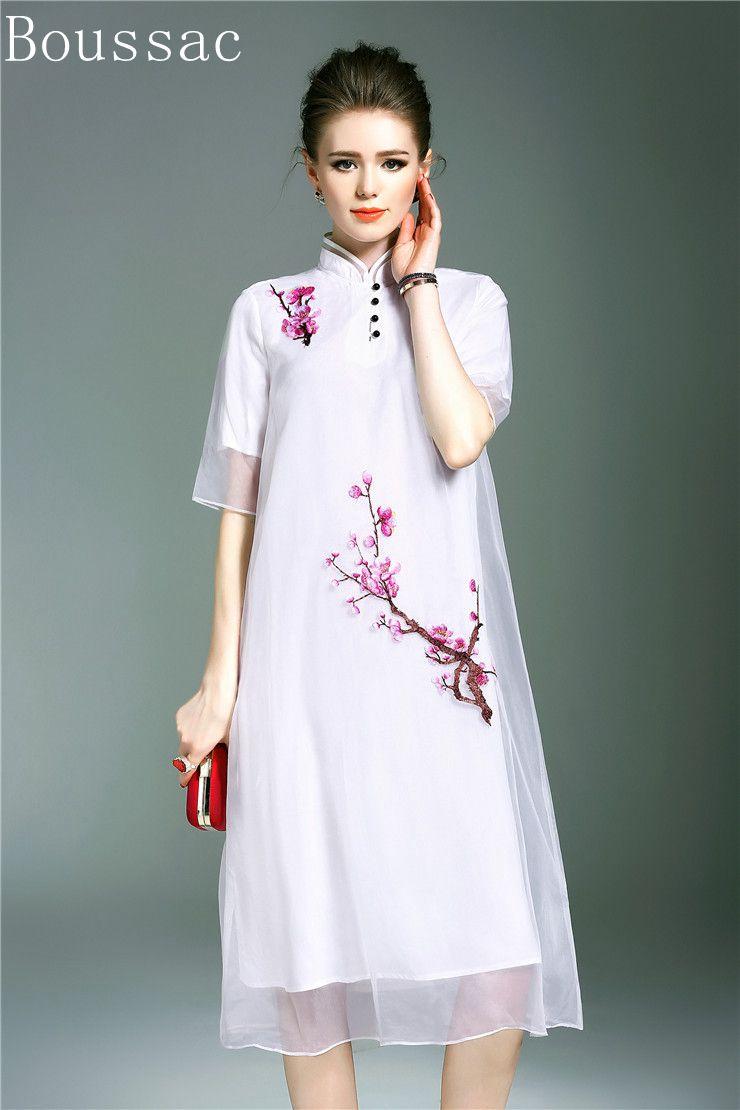 Free shipping Spring/Summer original design Chinese style peach flower Embroidered big size loosen organza long dress for women