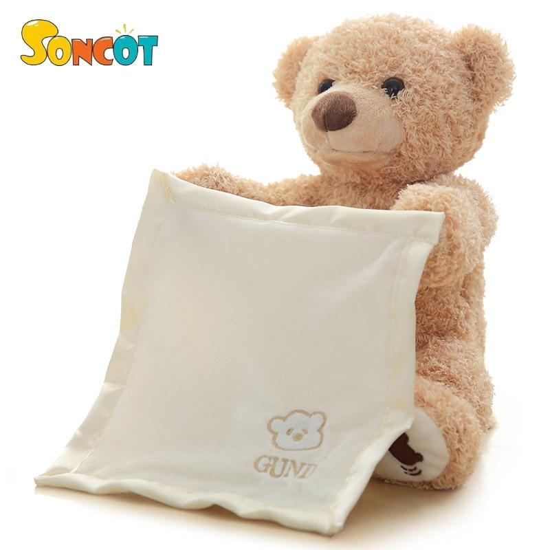 SONCOT 30 cm oso de peluche esconder y buscar animado Animal de peluche Oso de juguete mascota electrónica de Año Nuevo cumpleaños regalo para chico